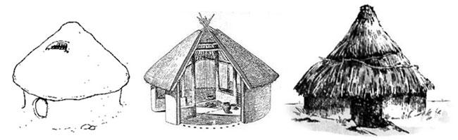 原始建筑图手绘
