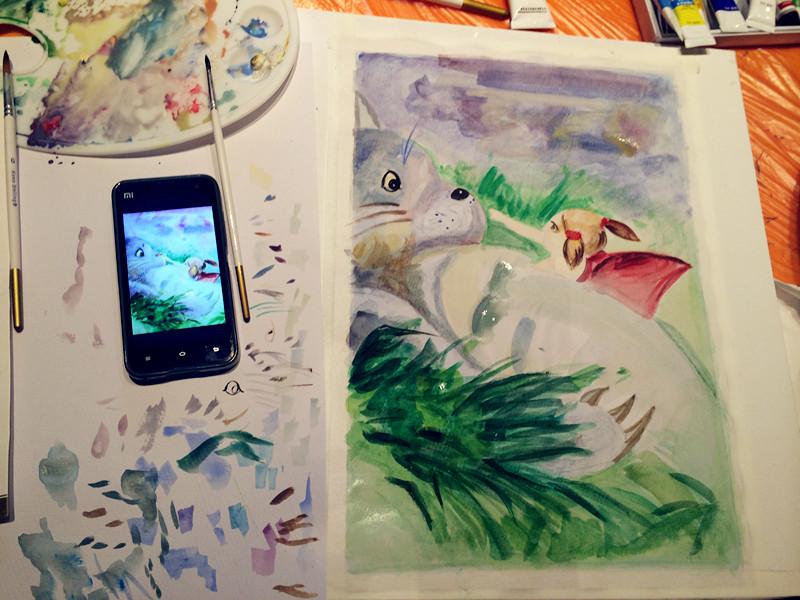 水彩画卡通绘画临摹:《龙猫》