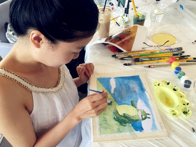 水彩画卡通绘画临摹:《龙猫》-周末去哪儿-名画临摹 梵高 星空