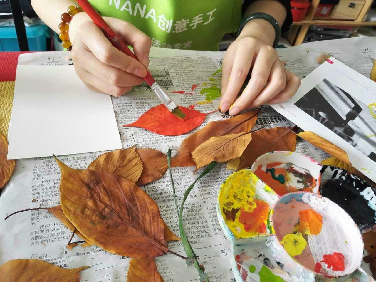制作完成叶子主题手工拓印环保细帆布包一个