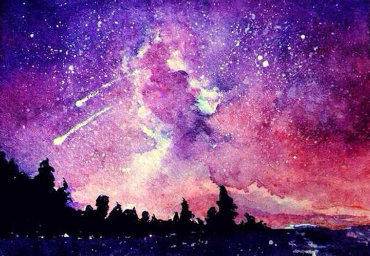 水彩晕染背景素材-星空星夜